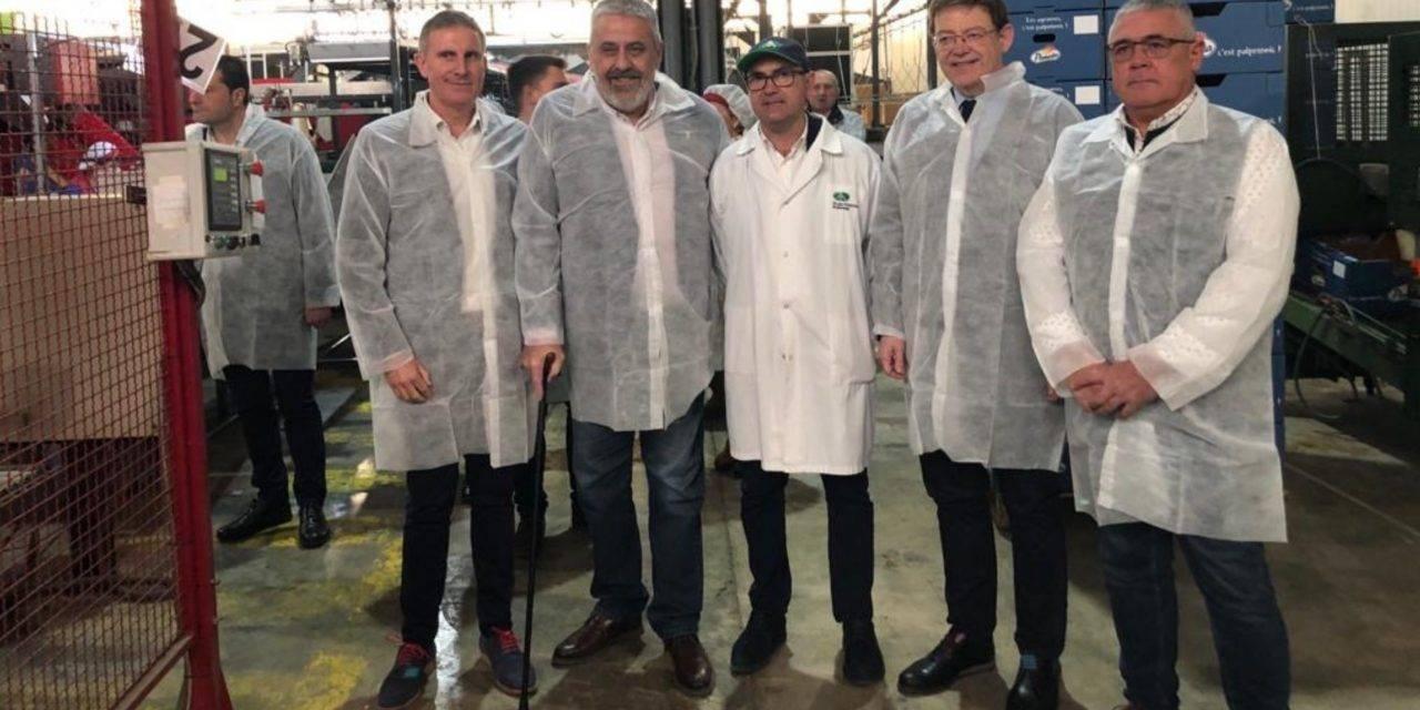 El President de la Generalitat visita la cooperativa Agrícola de Pego